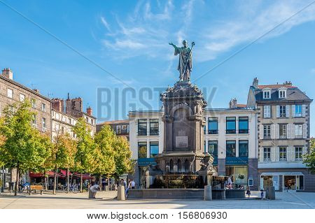 CLERMONT FERRAND,FRANCE - SEPTEMBER 1,2016 - Fountain with statue of Urbain II at Victoire place in Clermont Ferrand. Clermont Ferrand is a city and commune in the Auvergne region of France.