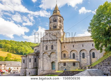 ORCIVAL,FRANCE - SEPTEMBER 1,2016 - View at the Basilica of Notre Dame All About Mary in Orcival. Orcival is a commune in the Puy-de-Dome department in Auvergne in central France.