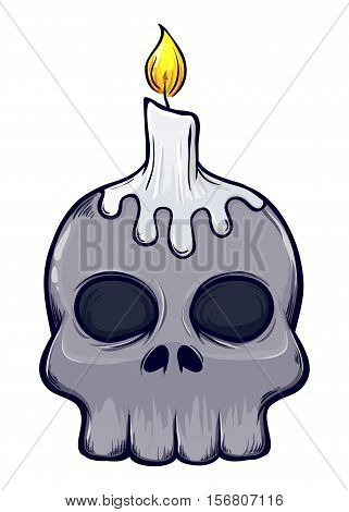 Vector stock of scary skull with candle on top