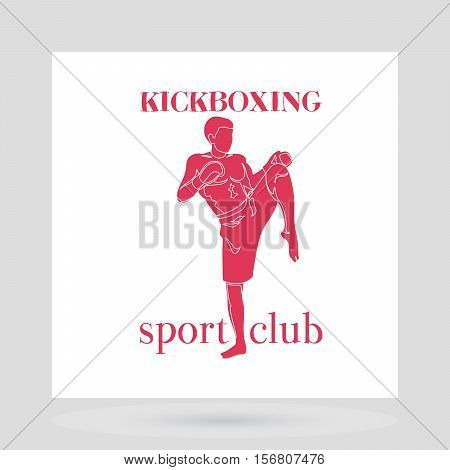 Fight club logo design presentation. Kickboxing red men silhouette on white background. vector illustration