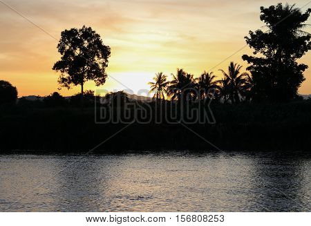 sky in sunset cloud colorful beautiful with silhouette motion tree woodland and river reflect in evening on nature : with copy space for add text.