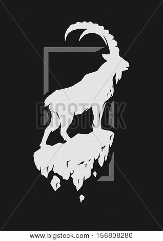 Silhouette of a mountain goat standing on a rock. Vector illustration.