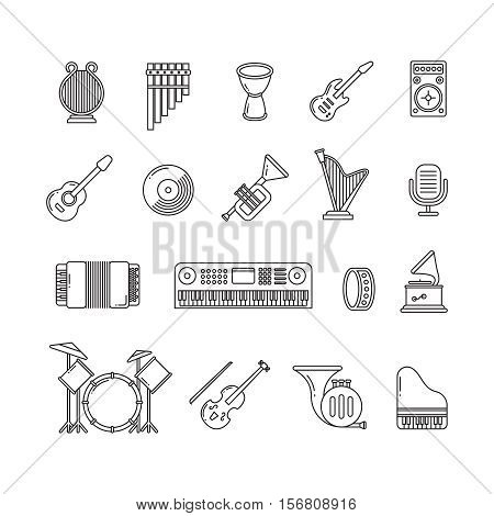 Music concert instruments thin line vector icons. Set of instruments guitar piano and violin, illustration of classical instrument