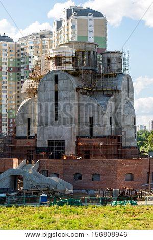 Krasnogorsk, Russia - July 09.2016. The construction of St. Nicholas Church in the floodplain Pavshinskaya
