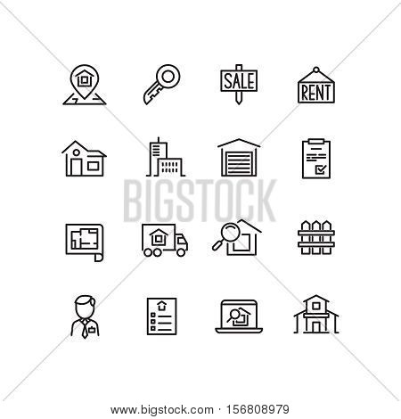 Real estate, house, property for sale, search apartment thin line vector icons. Rent and sale house, architecture line house for sell illustration