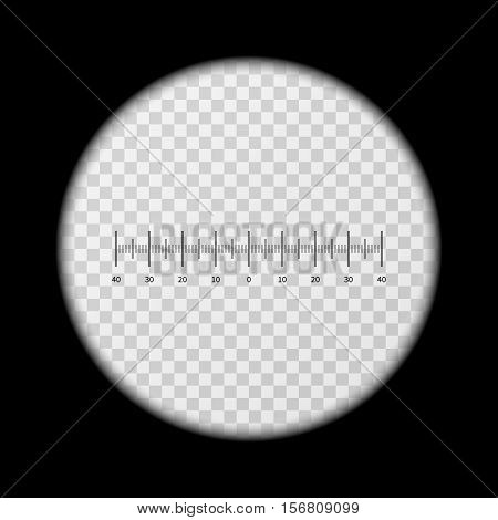 Monoculars, spyglass view vector template. View with monocular, shape of optics monoculars illustration