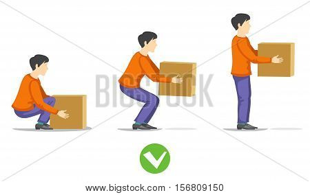 Safety correct lifting of heavy box vector illustration. Instruction correct lifting load, right work lifting item