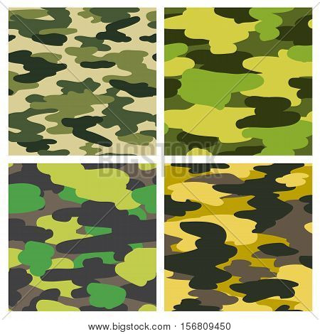 Set of 4 vector camouflage seamless patterns. Wrapping paper