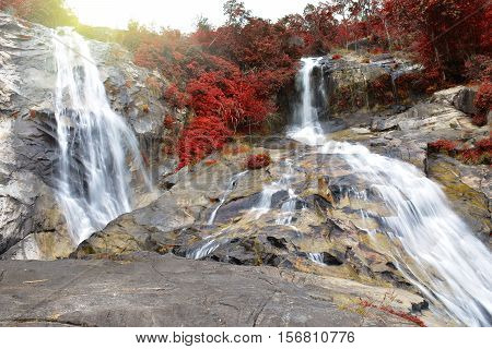 beautiful waterfall in autumn season at Ton Nga Chang waterfall National park in Hat Yai district Songkhla province Thailand