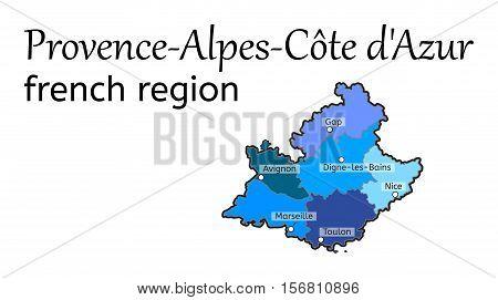 Provence-Alpes-Cote dAzur french region map on white