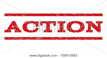 Action watermark stamp. Text caption between parallel lines with grunge design style. Rubber seal stamp with unclean texture. Vector red color ink imprint on a white background.