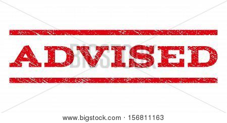 Advised watermark stamp. Text tag between parallel lines with grunge design style. Rubber seal stamp with unclean texture. Vector red color ink imprint on a white background.