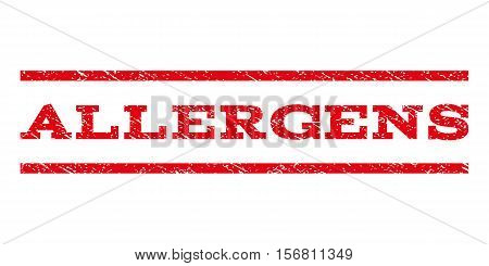 Allergens watermark stamp. Text tag between parallel lines with grunge design style. Rubber seal stamp with dirty texture. Vector red color ink imprint on a white background.