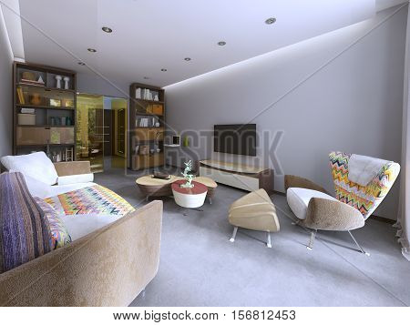 Modern Living Room In Kitsch Style.