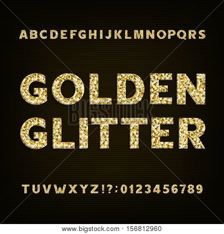 Golden glitter alphabet font. Bold letters numbers and symbols. Stock vector typeface for your design.