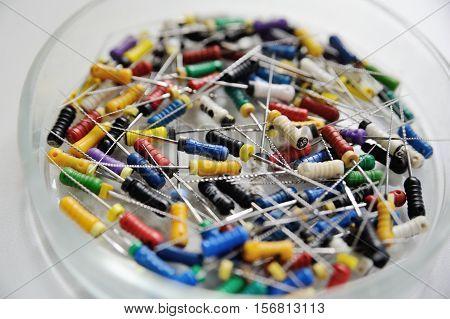 endodontic files and reamers dental color closeup
