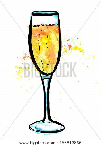 A vector, pen and ink, and watercolor drawing of a flute glass of sparkling wine, hand painted on white background