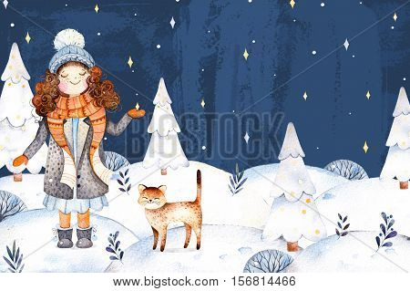 Watercolor handpainted illustration with a cute girl in a wool coat,scarf,hat and her little friend-cute kitten.