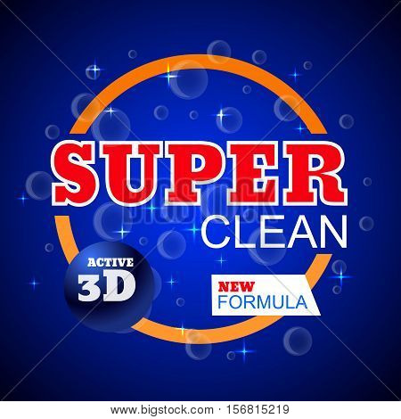 Power Clean Template For Laundry Detergent Package Design For Washing Powder Eps 10 Vector.