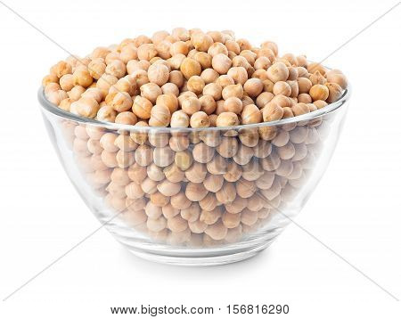 Dry chickpeas in glass bowl isolated on white background. Uncooked chick-pea. Chickpea grains