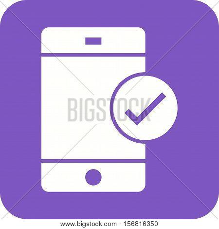 Approved, valid, device icon vector image. Can also be used for user interface. Suitable for mobile apps, web apps and print media.