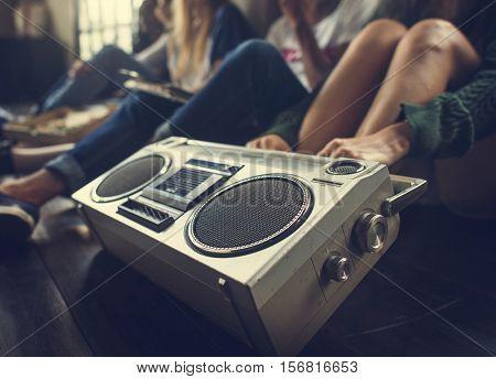 Friends Radio Boom box Sound Vintage Concept