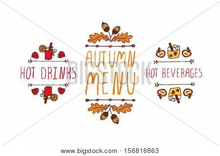 Hand drawn autumn elements with inscription hot drinks, autumn menu, hot beverages on white background