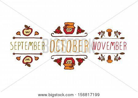 Hand drawn autumn elements with inscription december, october, november on white background