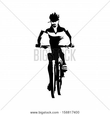 Mountain biker, cyclist abstract vector illustration. Cyclling