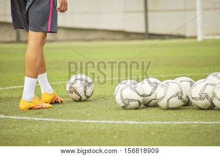 Male Palyer Preparing In Soccer Shooting Drill