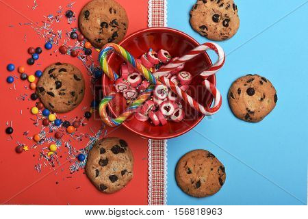Candies And Chocolate Chip Cookies