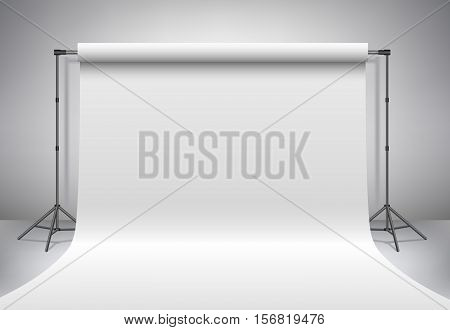 Empty photo studio. Realistic 3D template mock up. Backdrop stand (tripods) with white paper backdrop. Gray background. Vector illustration.