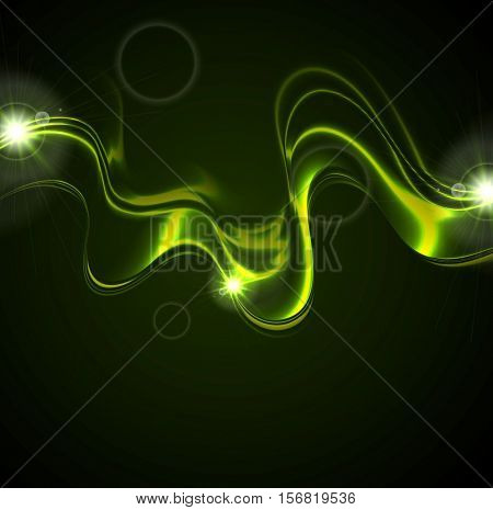 Glowing green neon waves on black background with lens flare. Vector bright iridescent design
