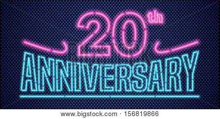 20 years anniversary vector illustration banner flyer logo icon symbol advertisement. Graphic design element with vintage style neon font for 20th anniversary birthday card