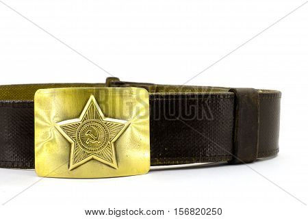 Military belt close-up on a white background