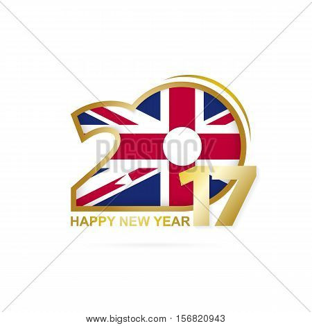 Year 2017 With United Kingdom Flag Pattern. Happy New Year Design On White Background.