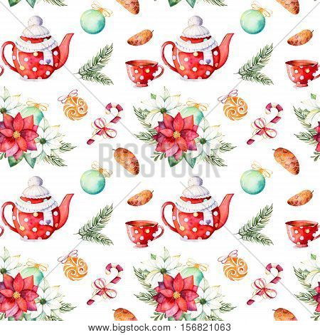 Handpainted watercolor seamless texture with winter bouquet,candy,teapot,cup of tea,pinecone,Christmas balls etc.