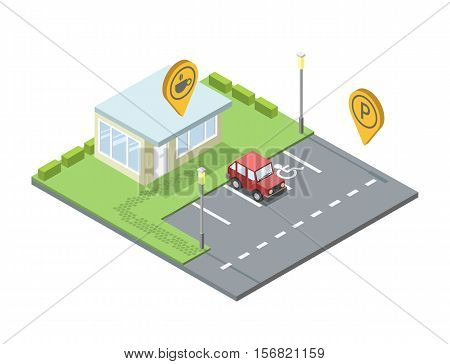 Vector isometric set of city element, parking place geo tag pin icon, streetlights, invalid place sign, road, coffee shop pin, red car, cafe, 3D flat design