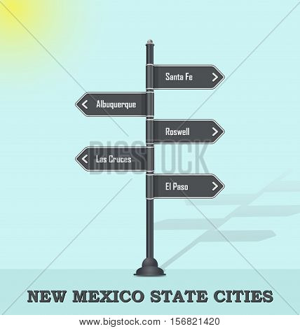 Road signpost template for USA towns and cities - New Mexico state