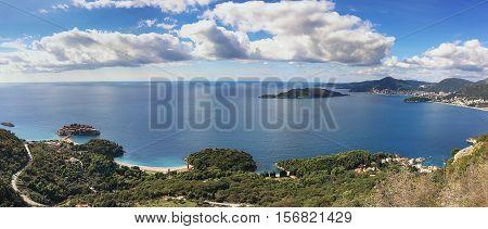 Panoramic view of the islet St. Stephen in Budva Montenegro