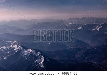 Aereal iew of the mountains in Montenegro covered with snow