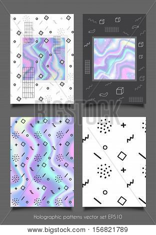 Trendy collection illustration memphis style holographic poster with geometric patterns. Cards set