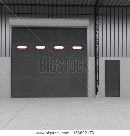 Shutter door or roller door and concrete floor inside factory building use for industrial background. 3D illustration