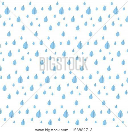 Seamless blue rein drop pattern on white, stock vector illustration
