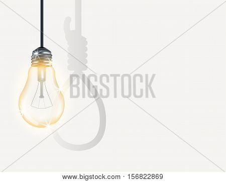 an incandescent light bulb with hanging rope