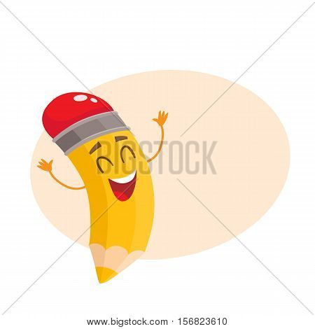 Yellow cartoon pencil with closed eyes and raised up hands celebrating success, vector illustration isolated on beige background for the text. Happy and excited humanized funny pencil
