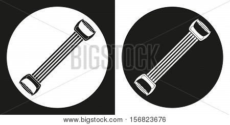 Sports expander icon. Silhouette sports expander on a black and white background. Sports Equipment. Vector Illustration