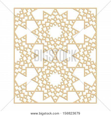 Laser cut vector pattern. Islamic die cut pattern. Cutout silhouette ornament. Fretwork oriental ornament. Vector islamic panel.