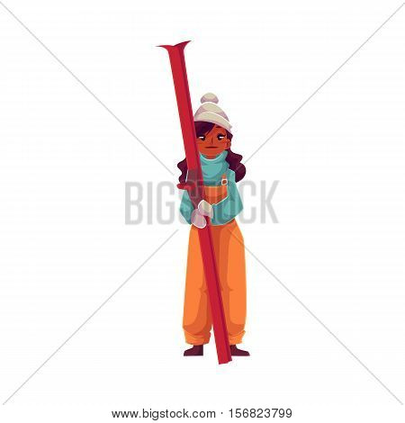 Teen-aged black girl with ski, cartoon vector illustration isolated on white background. Full height portrait of African Amercian teenage girl holding ski, fun winter activity, outdoor leisure time