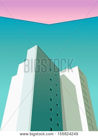 Vector image of avant-garde minimalist picture houses, view from below. Turquoise sky pink sky. Multistory model house, the windows, the roof. skyscrapers view from below